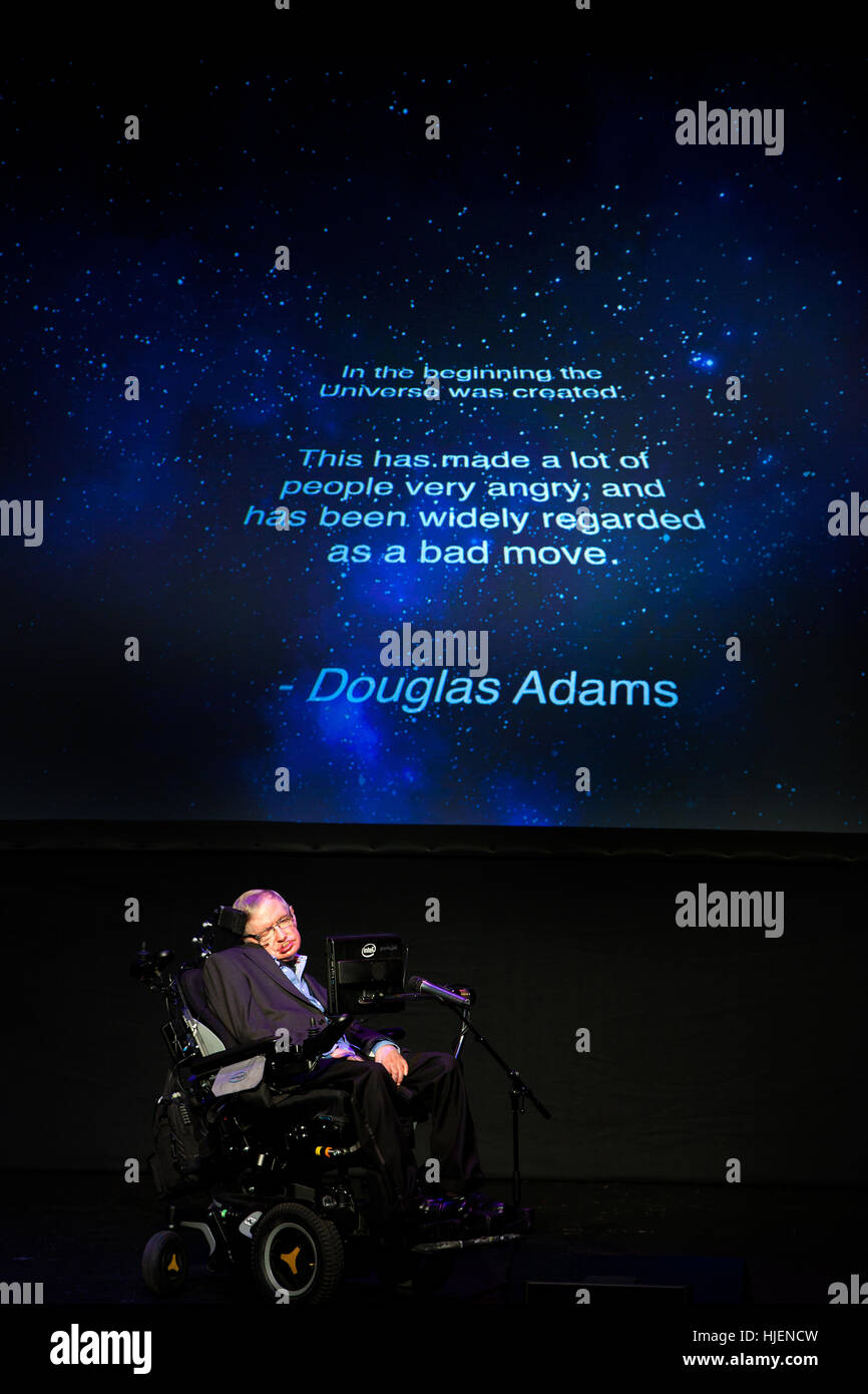 Prof. Stephen Hawking, British scientist, world renowned physicist portrait with Douglas Adams quote projection Stock Photo