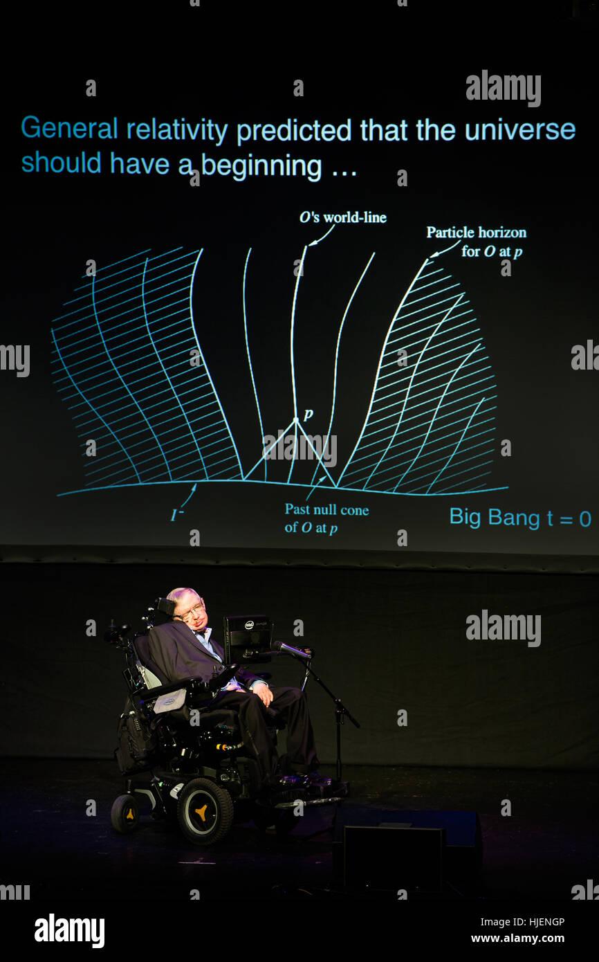 Prof. Stephen Hawking, British scientist, world renowned physicist portrait with general relativity beginning of Stock Photo