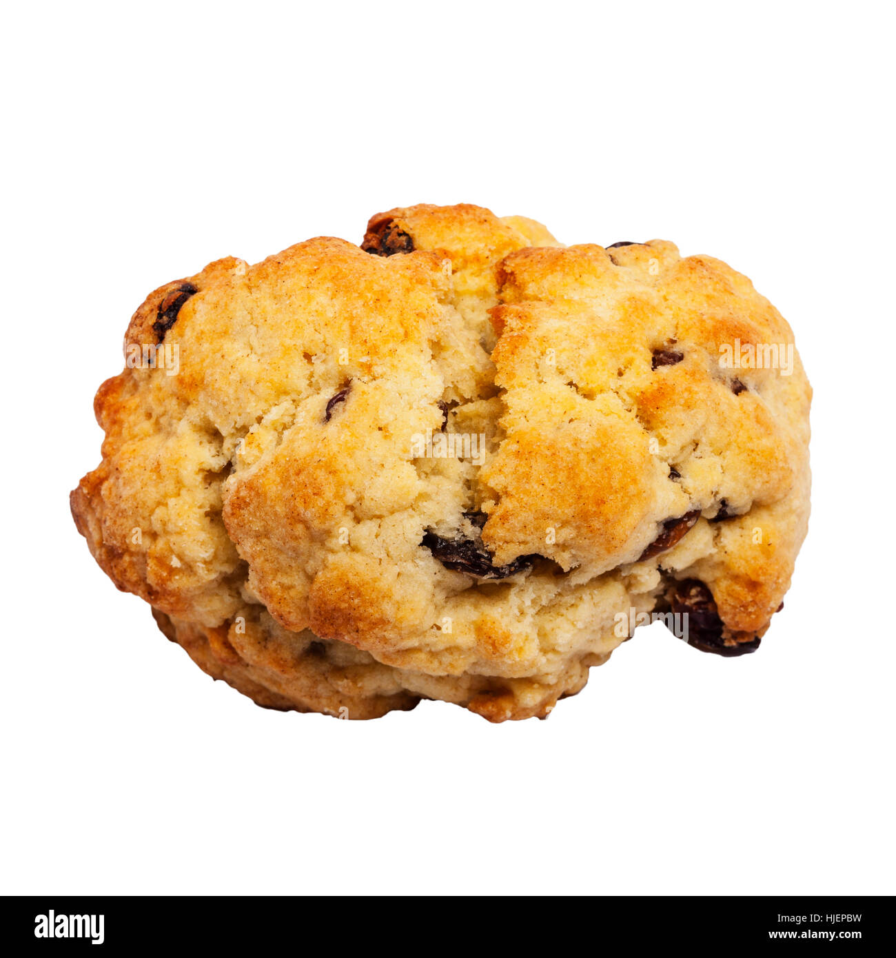 A home made rock cake on a white background - Stock Image