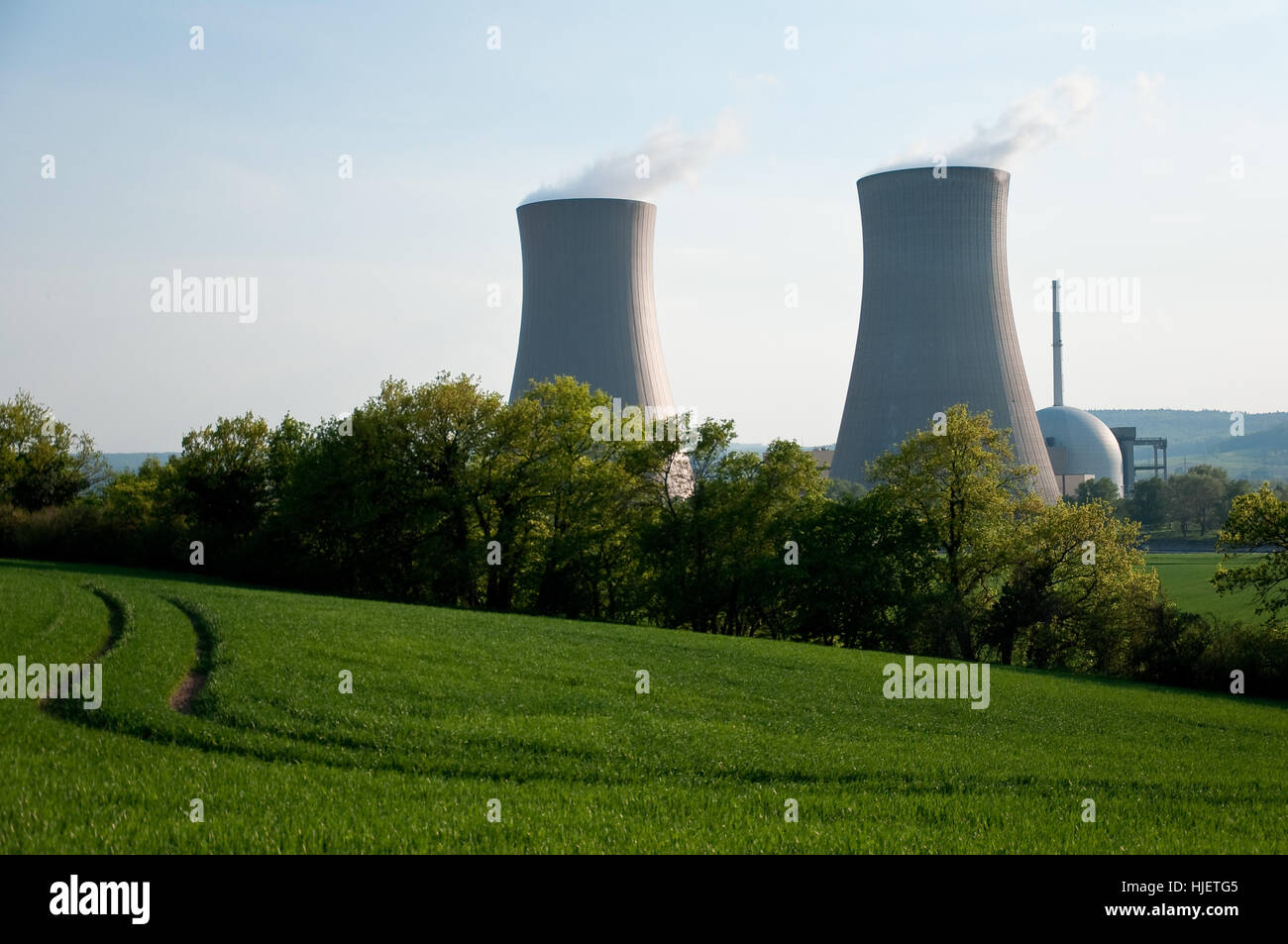power station, cooling tower, agriculture, farming, evening, acre, nuclear - Stock Image