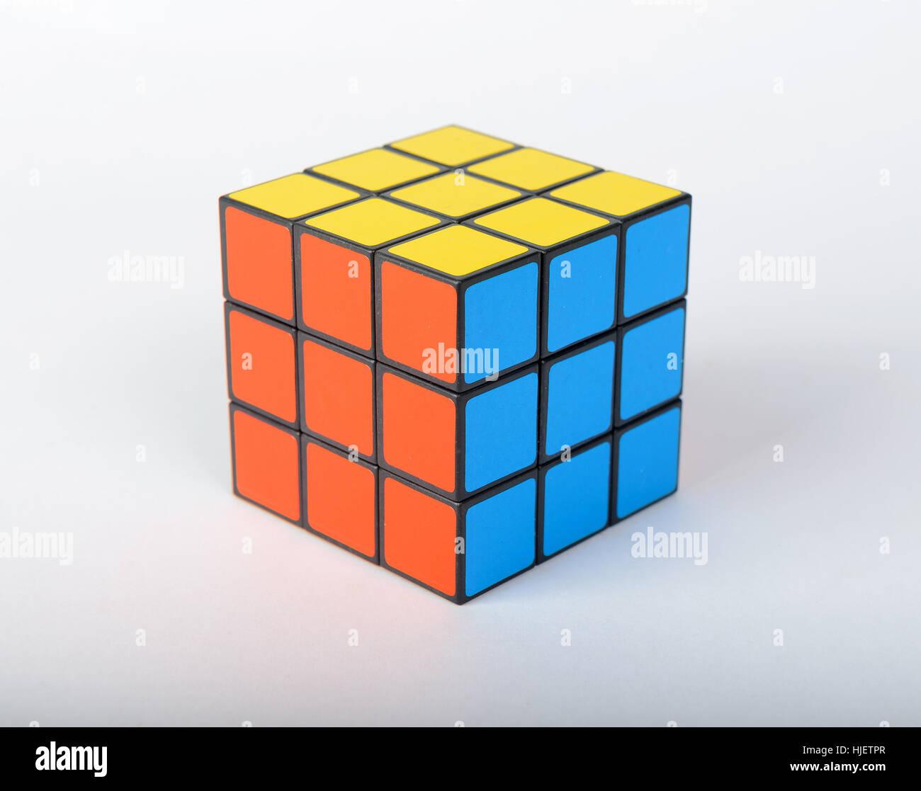 Rubik's cube cutout isolated on white background - Stock Image