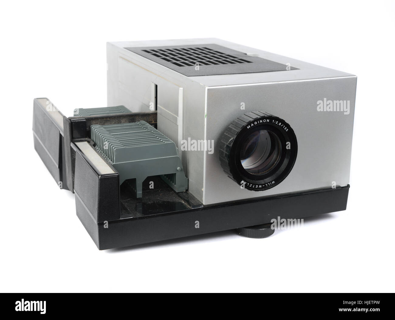 Medium format slide projector cutout isolated on white background - Stock Image