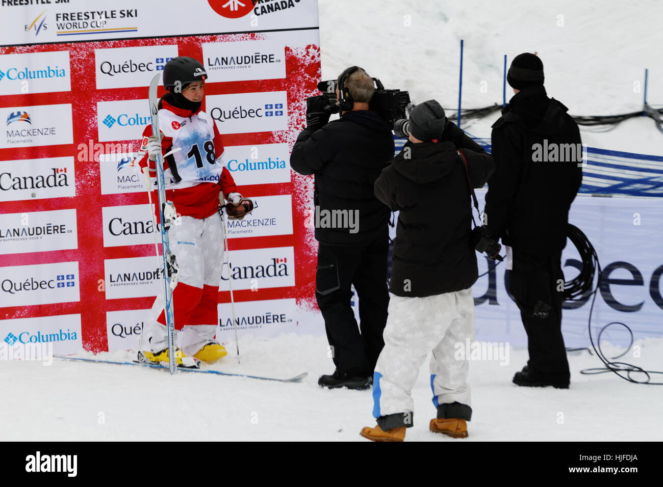 Alex-Anne Gagnon poses for the media at the FIS Freestyle Ski world Cup 2017 moguls at Val Saint-Come,Quebec. January - Stock Image
