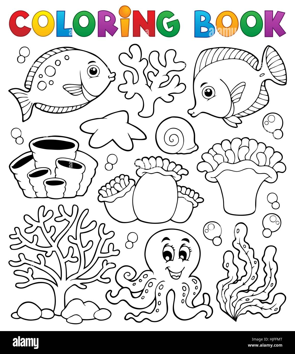 colour, fish, paint, reef, painted, colouring, coral, book, environment, - Stock Image