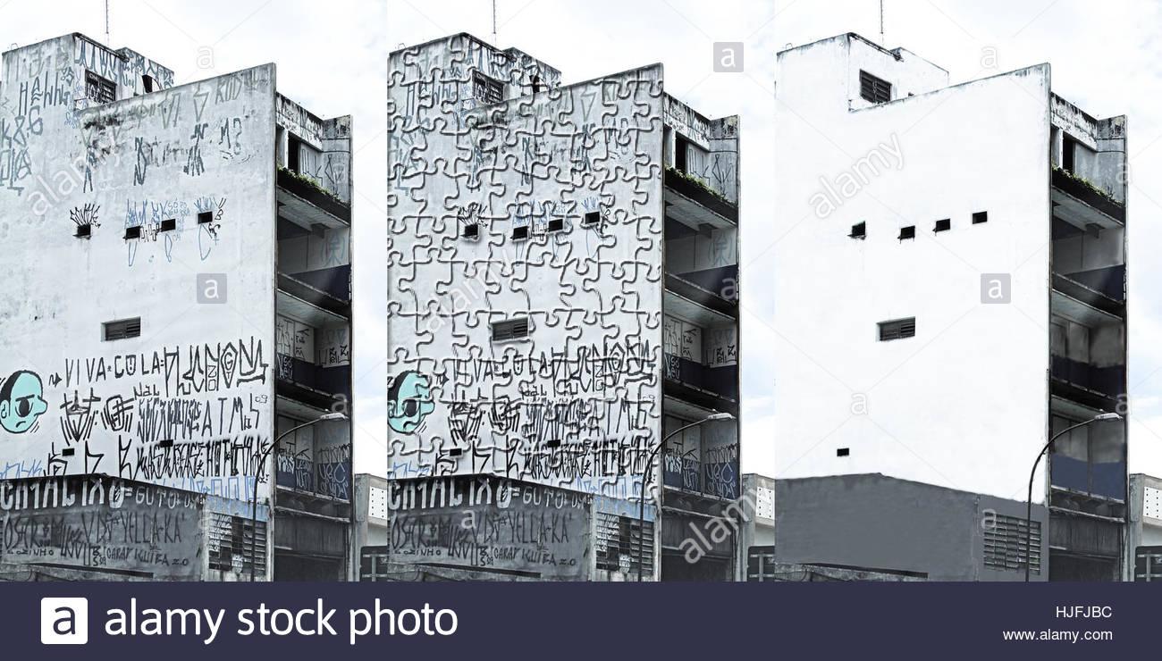 pollution vandalism graffiti rebuild - Stock Image