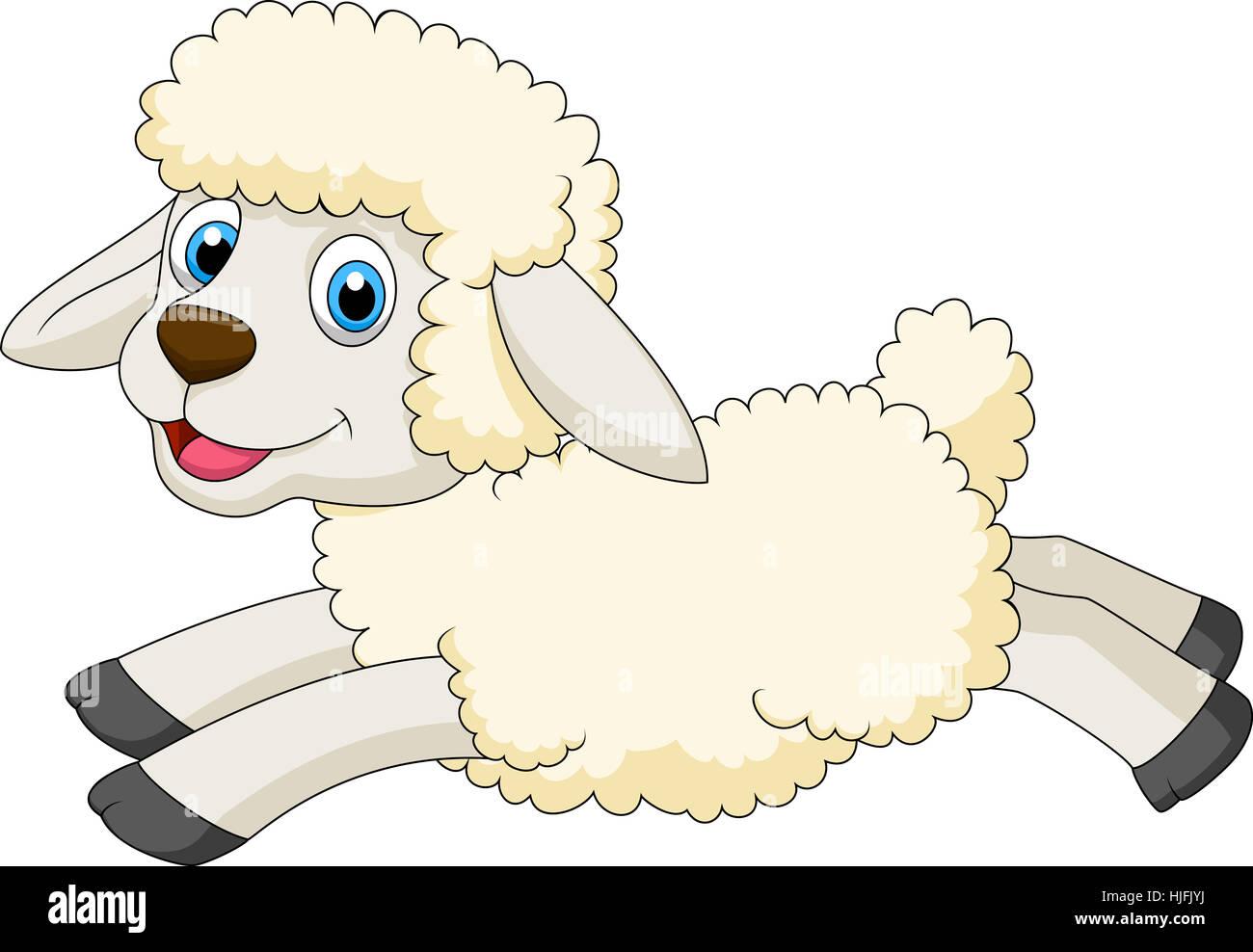 sheep, spring, bouncing, bounces, hop, skipping, frisks, jumping, jump, cub, Stock Photo