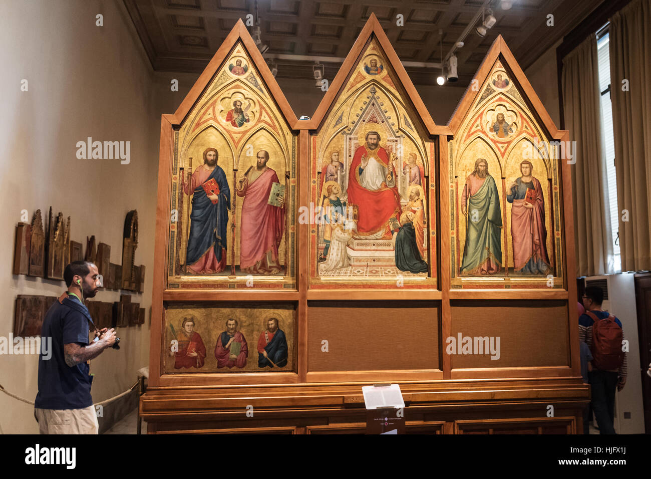 Triptych depicting St. Peter with Cardinal Stefaneschi and Pope Celestine, Vatican Museum , Rome, Italy, Europe Stock Photo