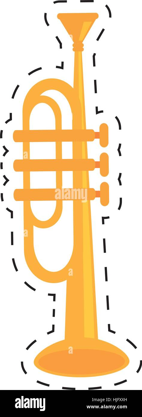 trumpet instrument music wind dotted line vector illustration eps 10 - Stock Vector