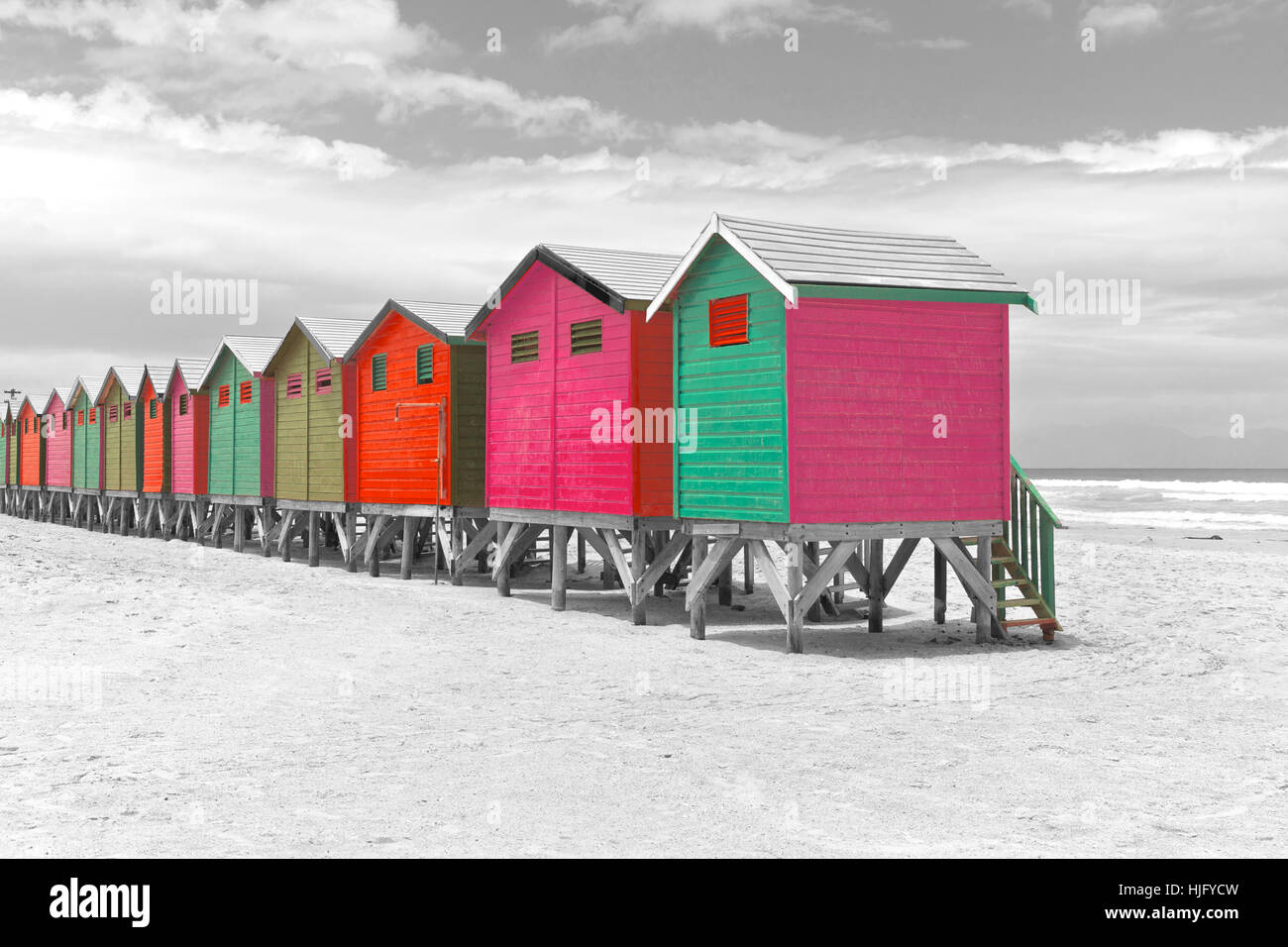 Row of painted beach huts in Cape Town, South Africa Stock Photo