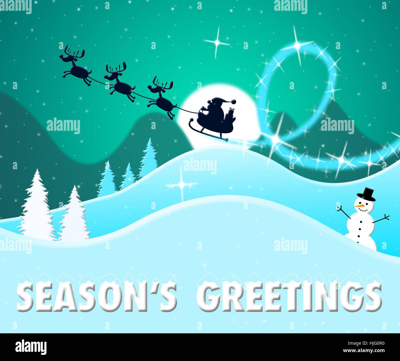 Seasons greetings santa scene shows happy christmas 3d illustration seasons greetings santa scene shows happy christmas 3d illustration m4hsunfo