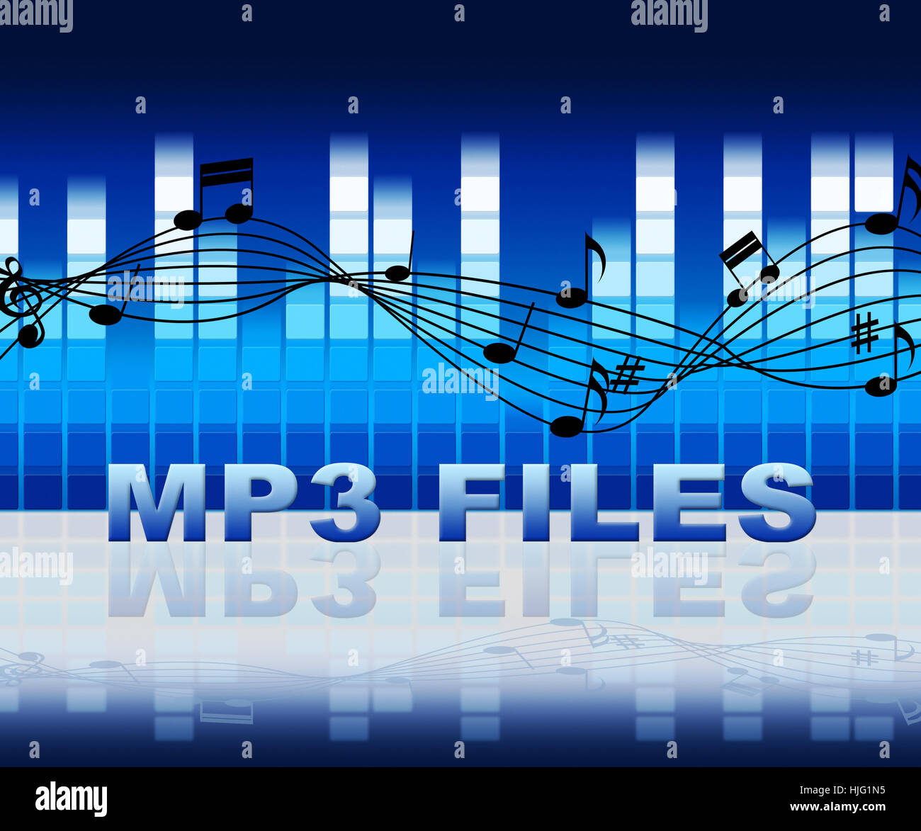 Mp3 Files On Equalizer Background Means Music Downloads From