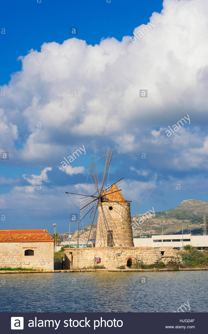 Windmills at Salt Pans, Trapani, Sicily, Italy. - Stock Image