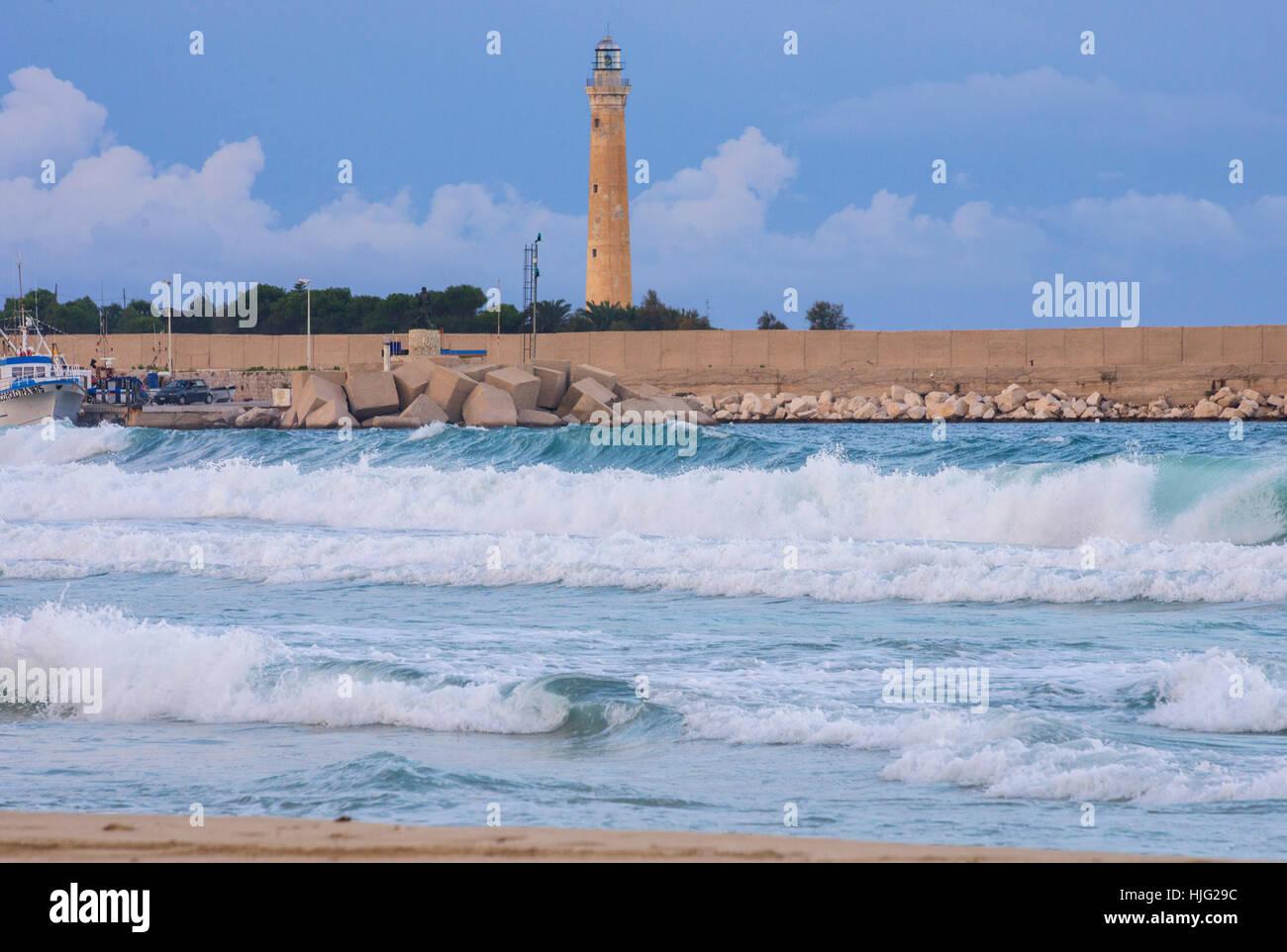 Lighthouse, San Vito Lo Capo ,Sicily, Italy - Stock Image