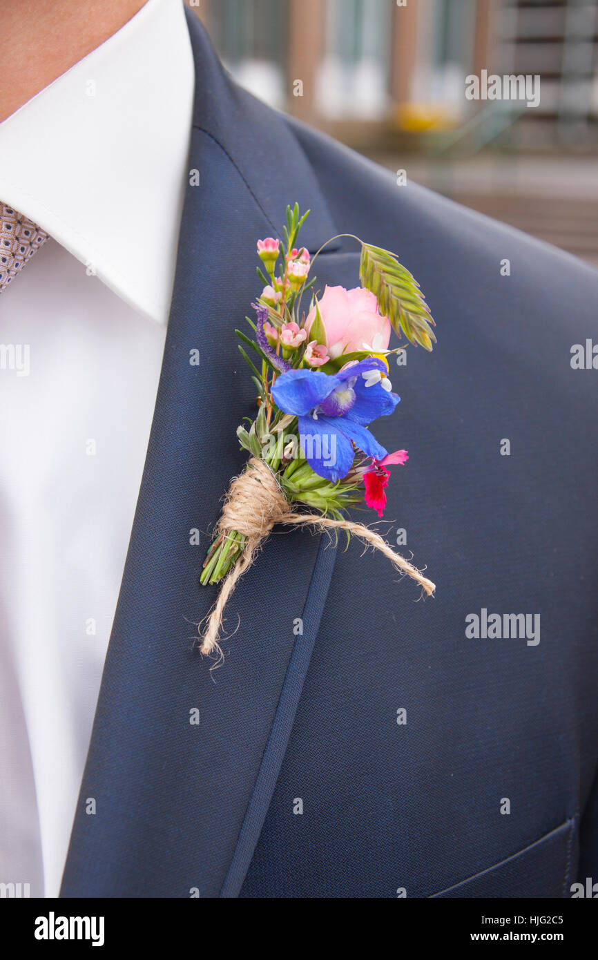 Bridal, bouquet, bachelor, Ceremony, ceremonies, marriage, church, ecclesiastical, tie, reverse, tuxedo, loyalty, - Stock Image