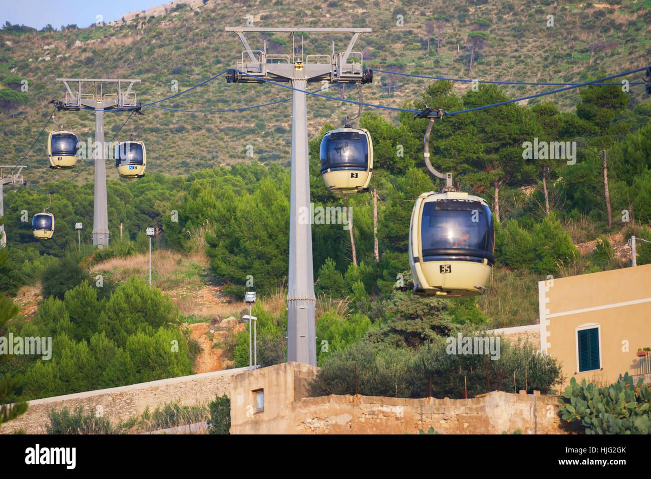 Trapani-Erice cableway, Trapani, Sicily, Italy - Stock Image