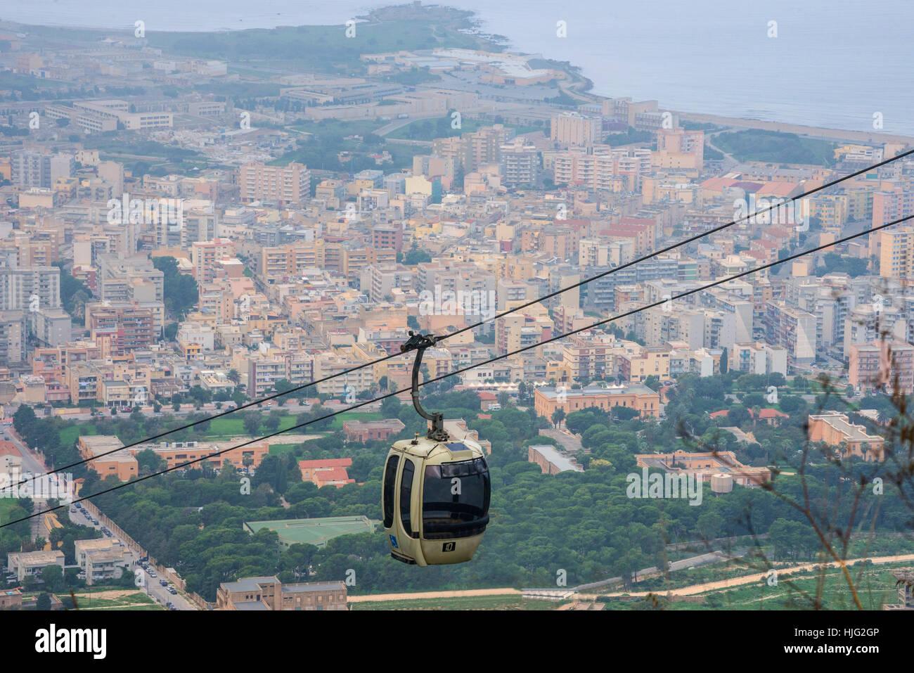Trapani-Erice cableway, Trapani, Sicily, Italy - Stock Image