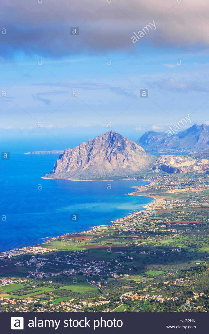 View of Erice and Monte Cofano Erice, Sicily, Italy - Stock Image