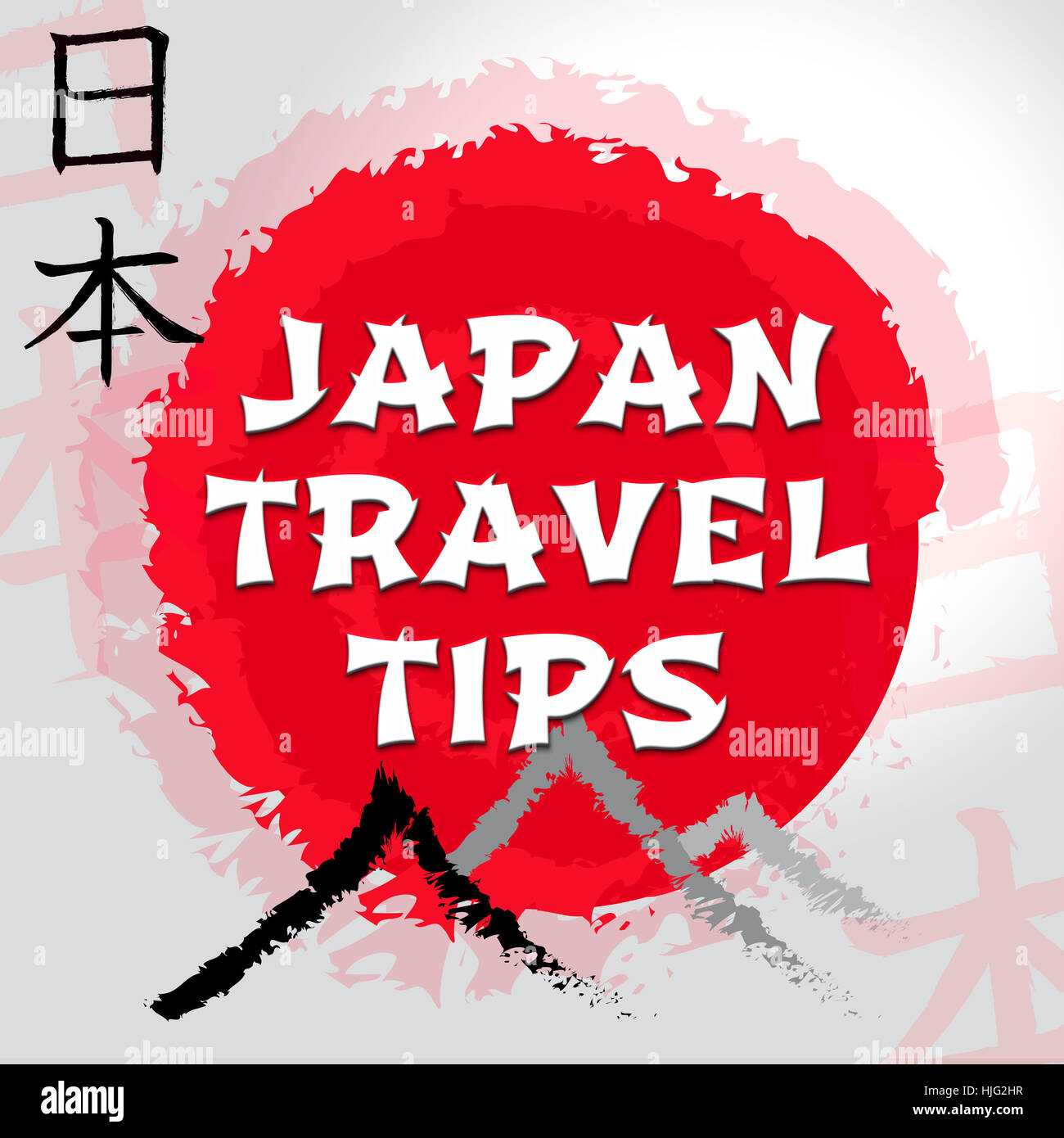 japan travel tips mountain and sun symbols shows japanese guide and
