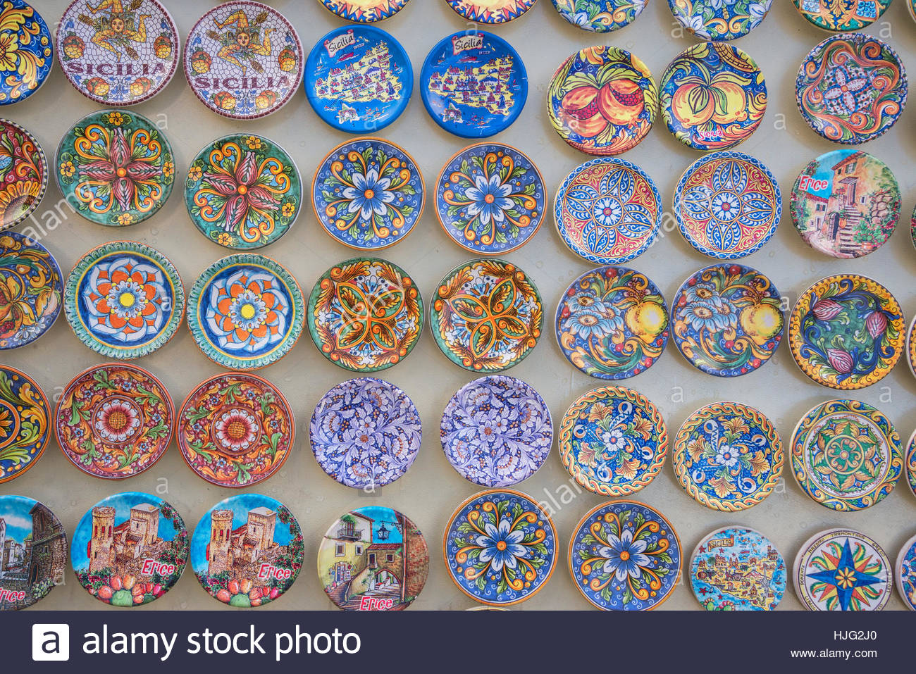 Traditional painted plates, Erice. Sicily, Italy - Stock Image