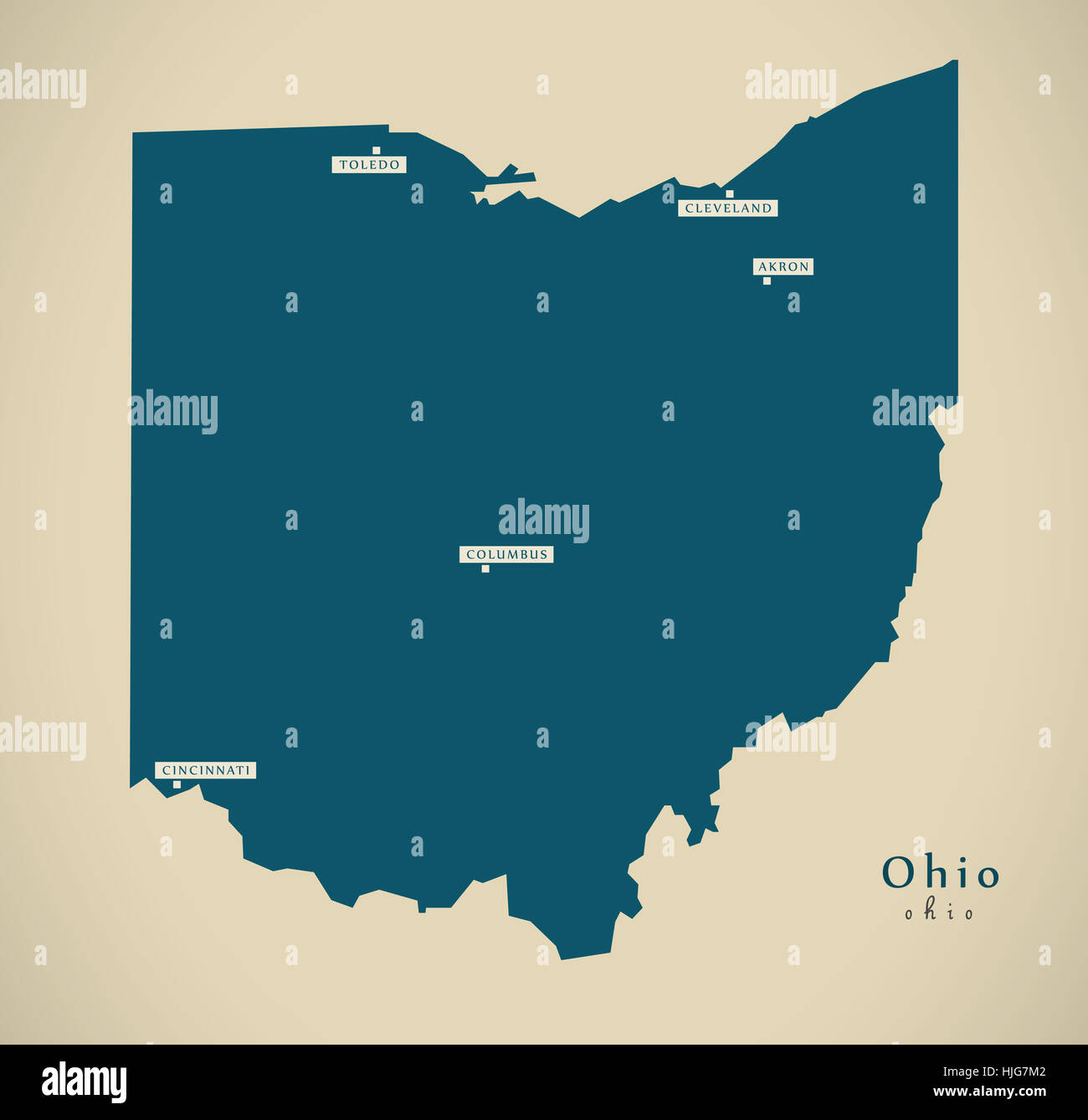Map Of Ohio Usa.Modern Map Ohio Usa Federal State Illustration Silhouette Stock