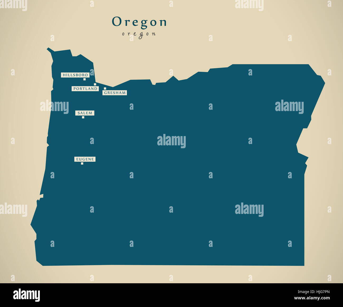 modern map oregon usa federal state illustration silhouette stock image