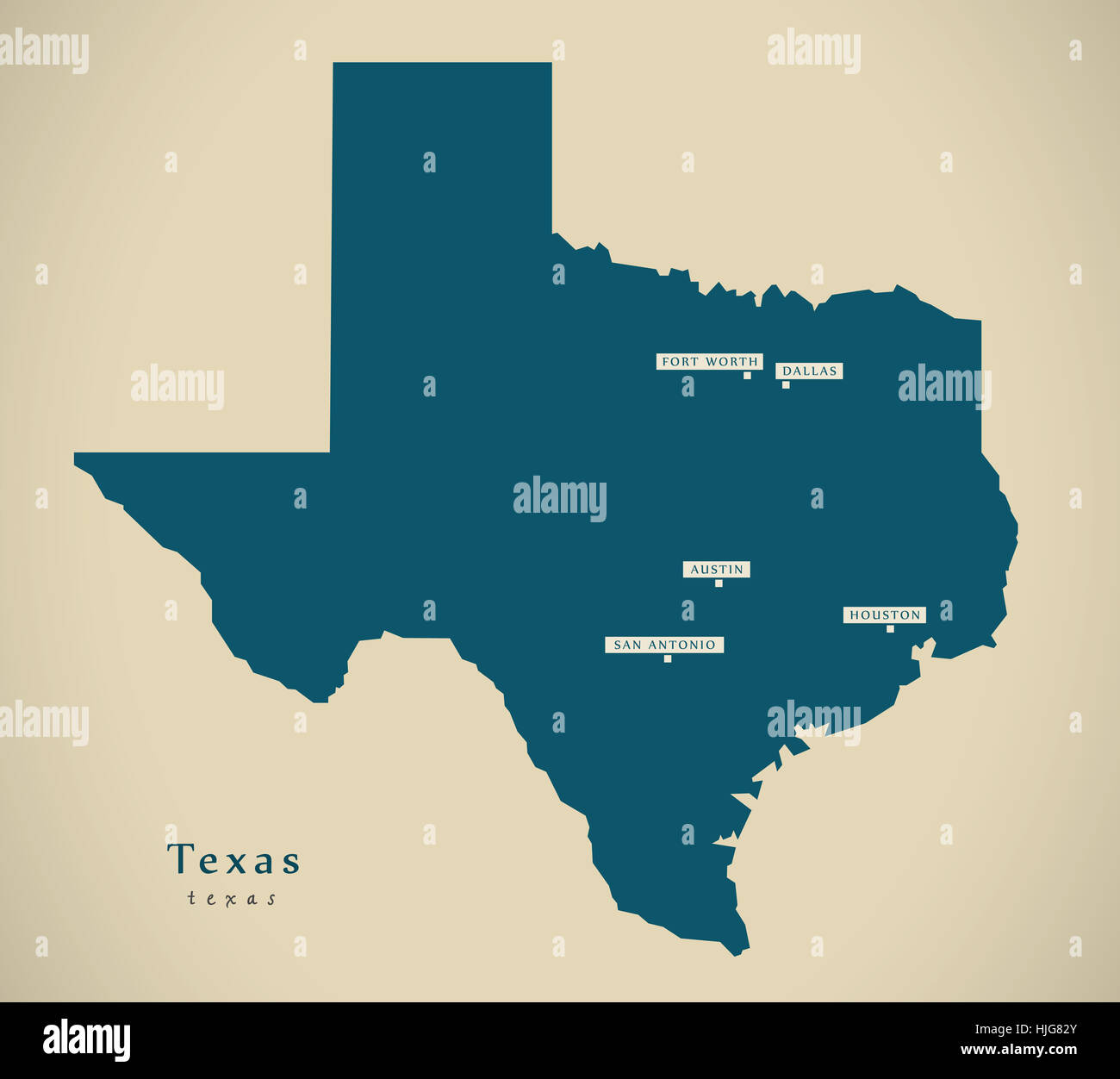 Modern Map - Texas USA federal state illustration silhouette Stock ...