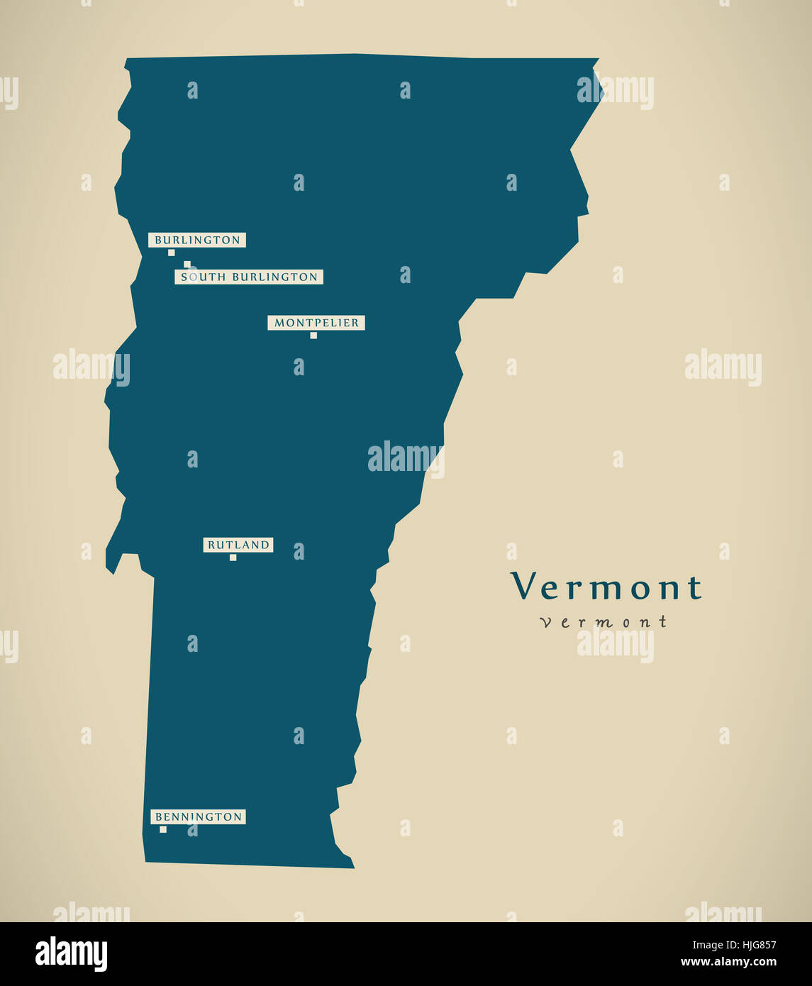 Vermont State Map Stock Photos Vermont State Map Stock Images Alamy