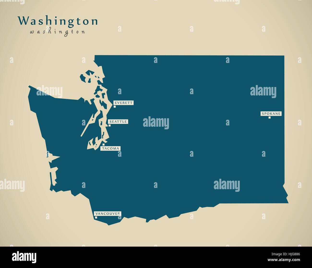 Washington State Native Plants: Washington State Map Stock Photos & Washington State Map