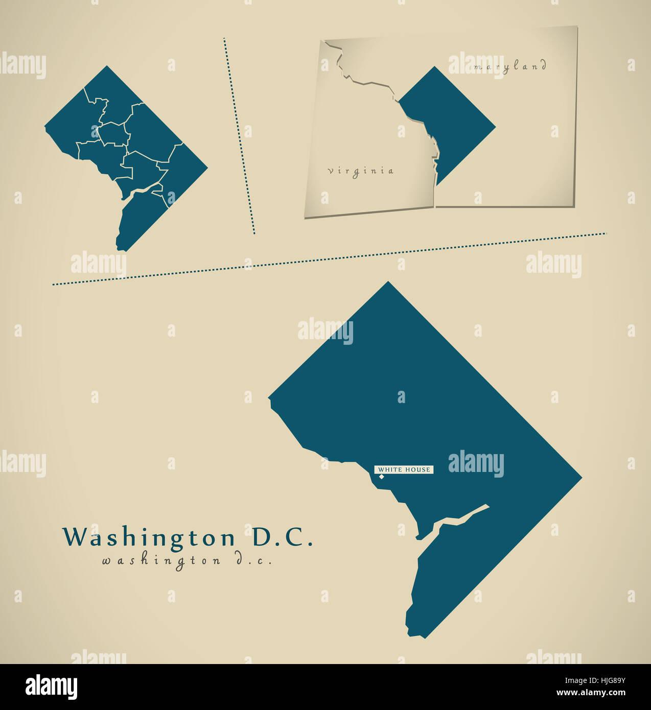Modern Map - Washington DC USA federal state illustration silhouette ...
