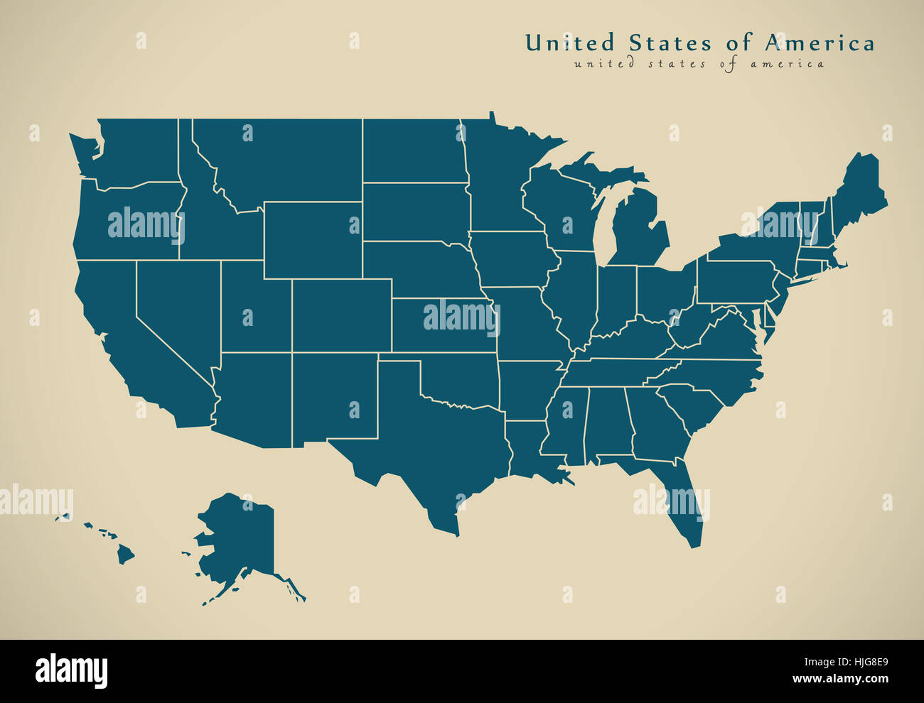 Picture of: Modern Map United States Usa With Federal States Illustration Stock Photo Alamy