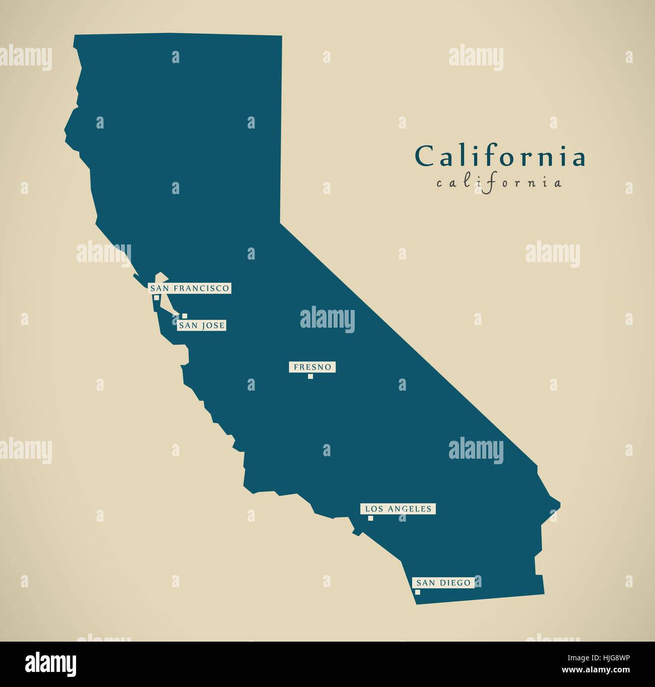 Modern Map - California USA federal state illustration ...
