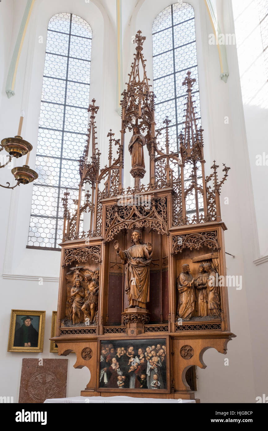Neo-Gothic altar by William Vogt, St. Anne's Church, Augsburg, Swabia, Bavaria, Germany - Stock Image