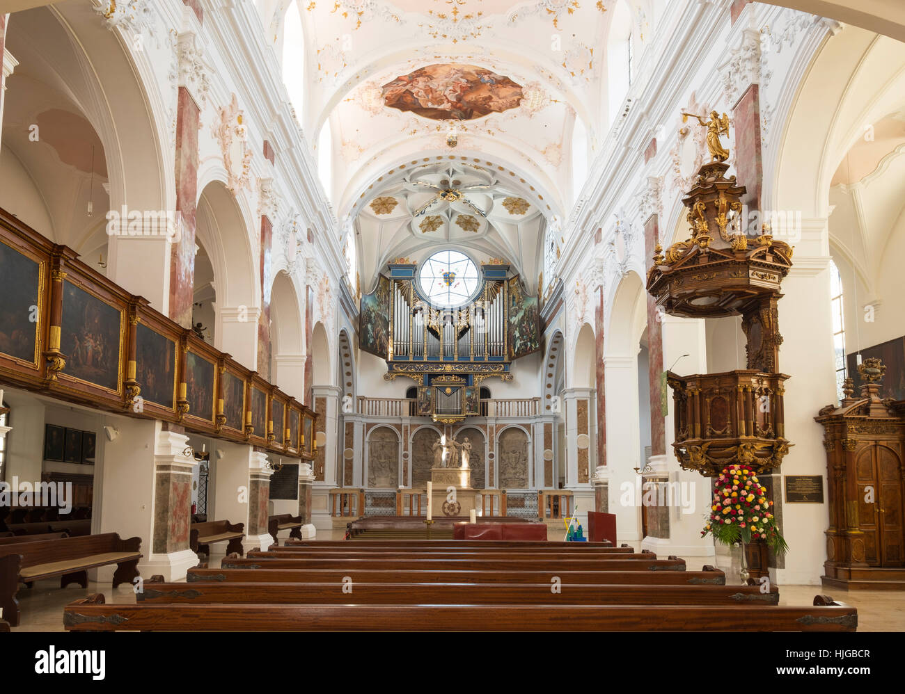 Interior view with Fuggerkapelle and organ, St. Anne's Church, Augsburg, Swabia, Bavaria, Germany - Stock Image