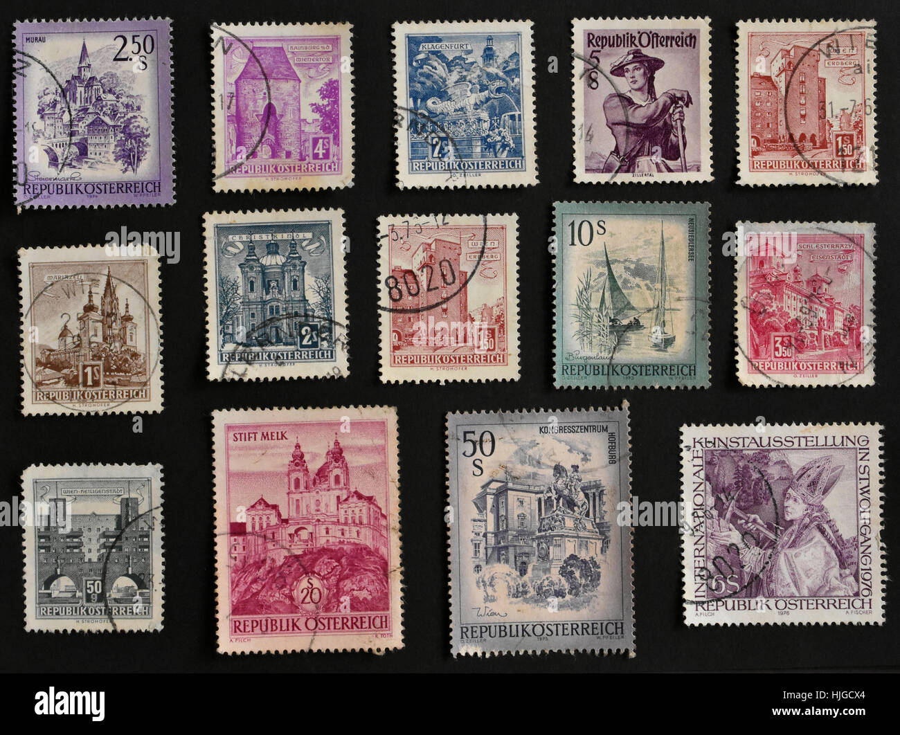 Postal stamps of Republik Osterreich - Stock Image