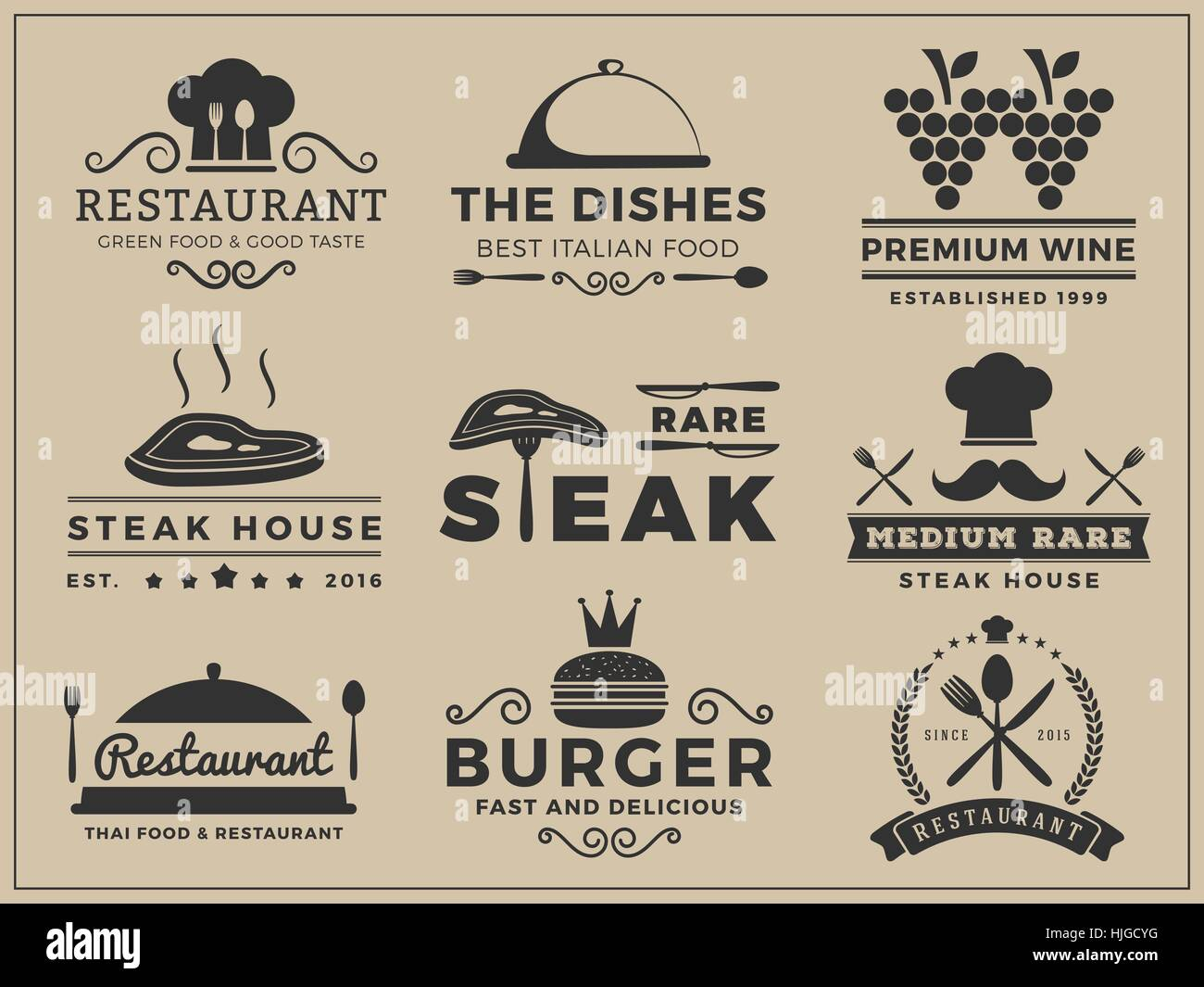 Set of logo & insignia design for Restaurant, Steak house, Wine, Burger, Food menu, Stamp, Letter press | Vector - Stock Image