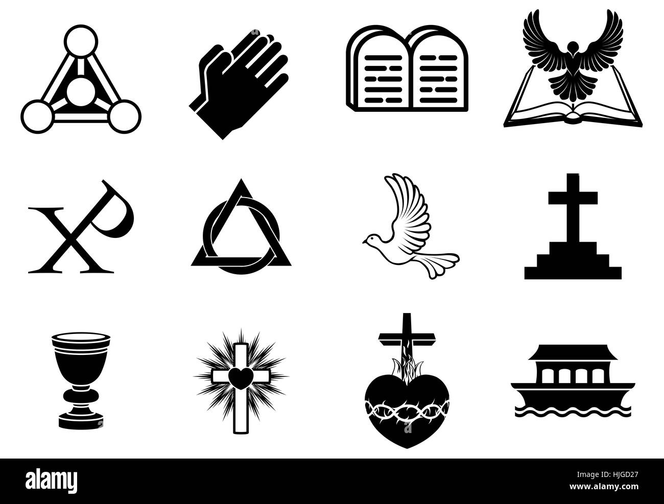 A set of Christianity icons and symbols, including dove, Chi Ro, praying hands, bible, trinity christogram, cross, - Stock Image