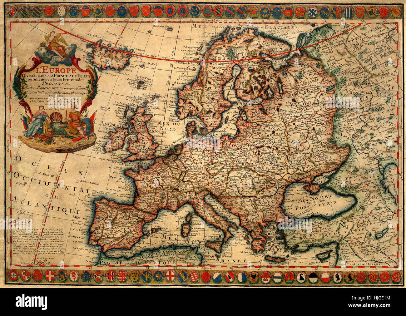 Map Of Europe 1700 Stock Photo: 131898640   Alamy