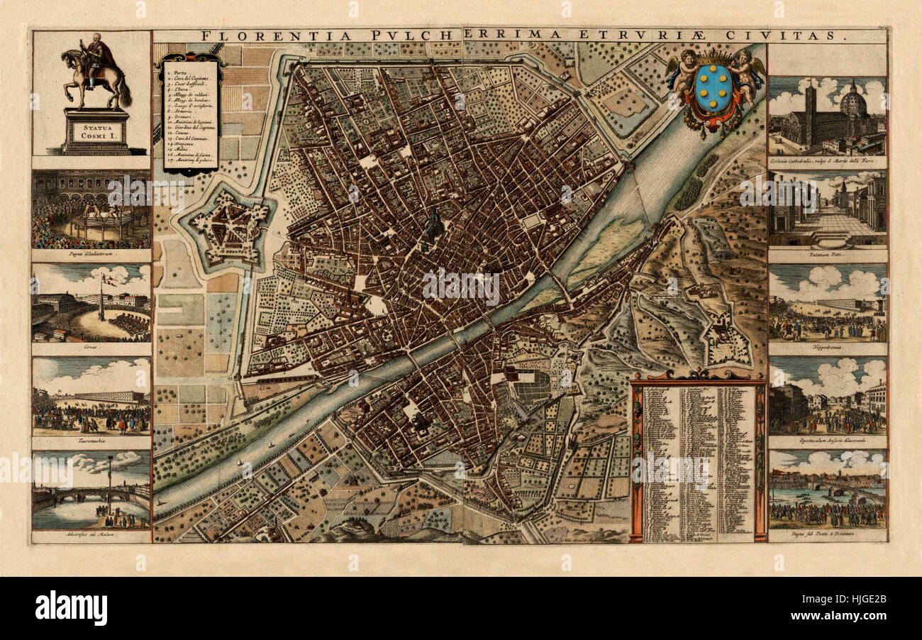 Map Of Florence 1695 - Stock Image