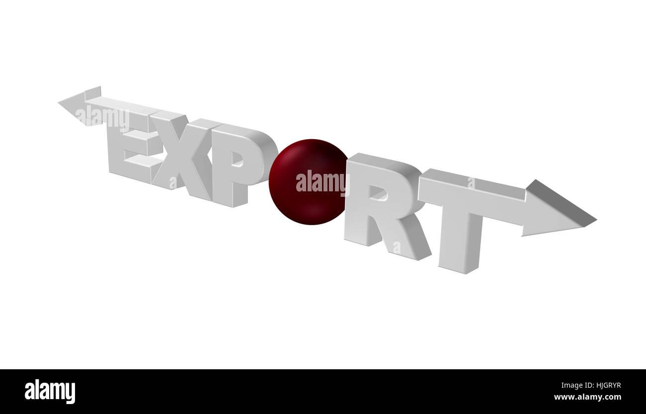 das wort export mit pfeilen - 3d illustration Stock Photo