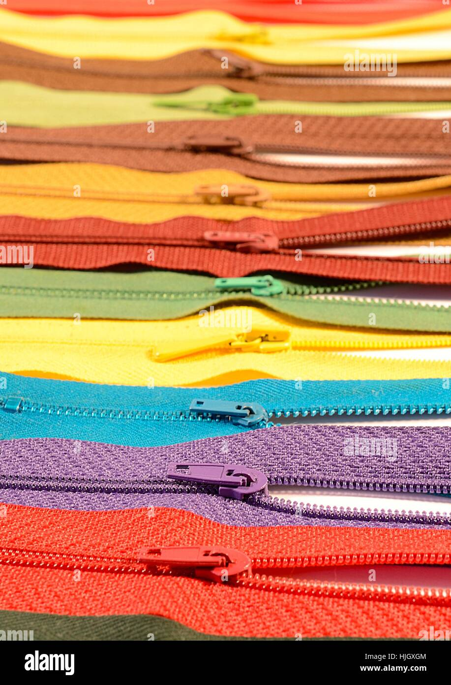 clothing, fabric, tailoring, zippers, zip, clothes, sale, clothing, fabric, - Stock Image