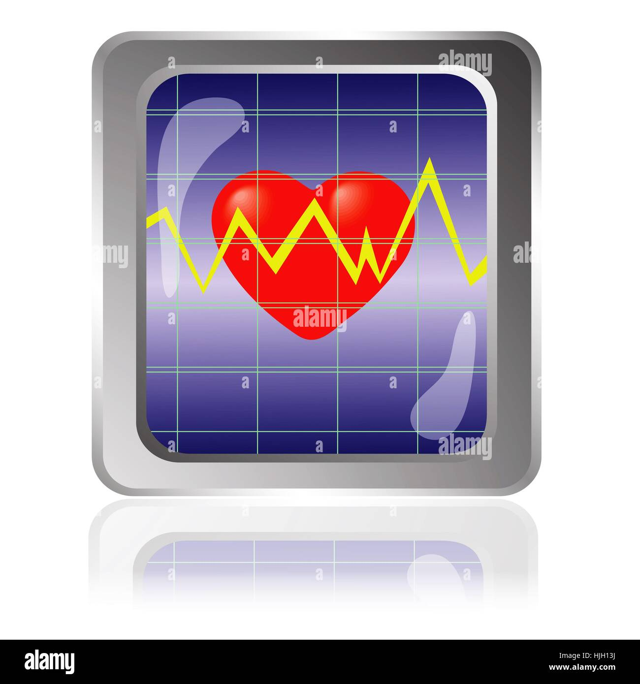 colorful illustration with cardiogram icon for your design - Stock Image