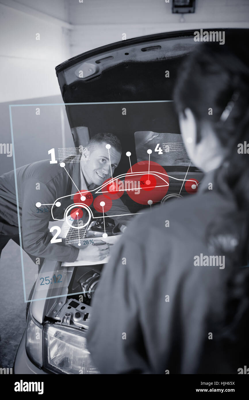 Car Engine Diagram Stock Photos Images Auto Mobile Heat Two Mechanics Looking At Futuristic Interface With In Black And White Image