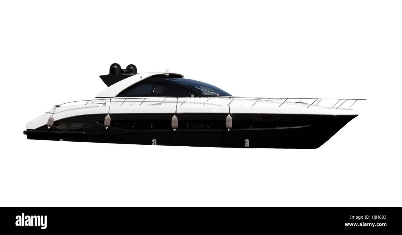 Speedboat isolated on white background - Stock Image