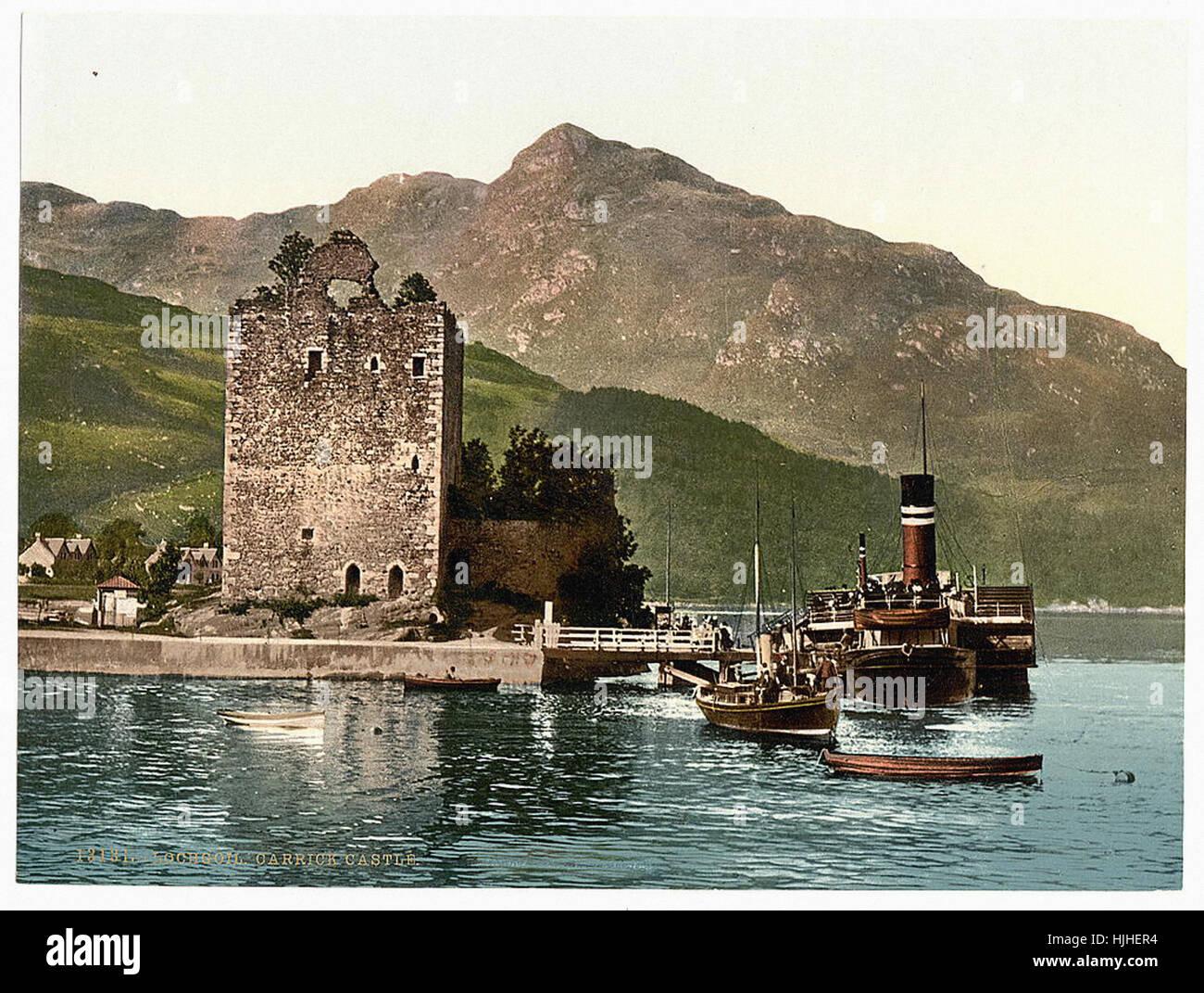 Carrick Castle, Lochgoil (i.e. Loch Goil), Scotland  - Photochrom XIXth century Stock Photo