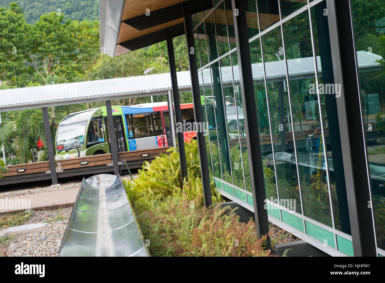 Courtesy Shuttle Bus at the Visitor Centre at Mossman Gorge, Queensland Australia - Stock Image