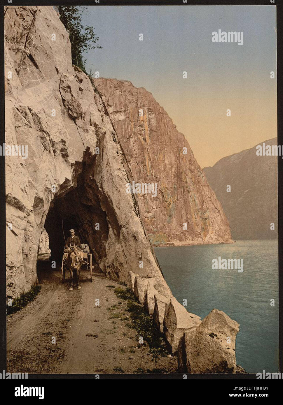 Road to Vorinfos (i.e., V_u00f8ringsfoss), Hardanger Fjord, Norway  - Photochrom XIXth century - Stock Image