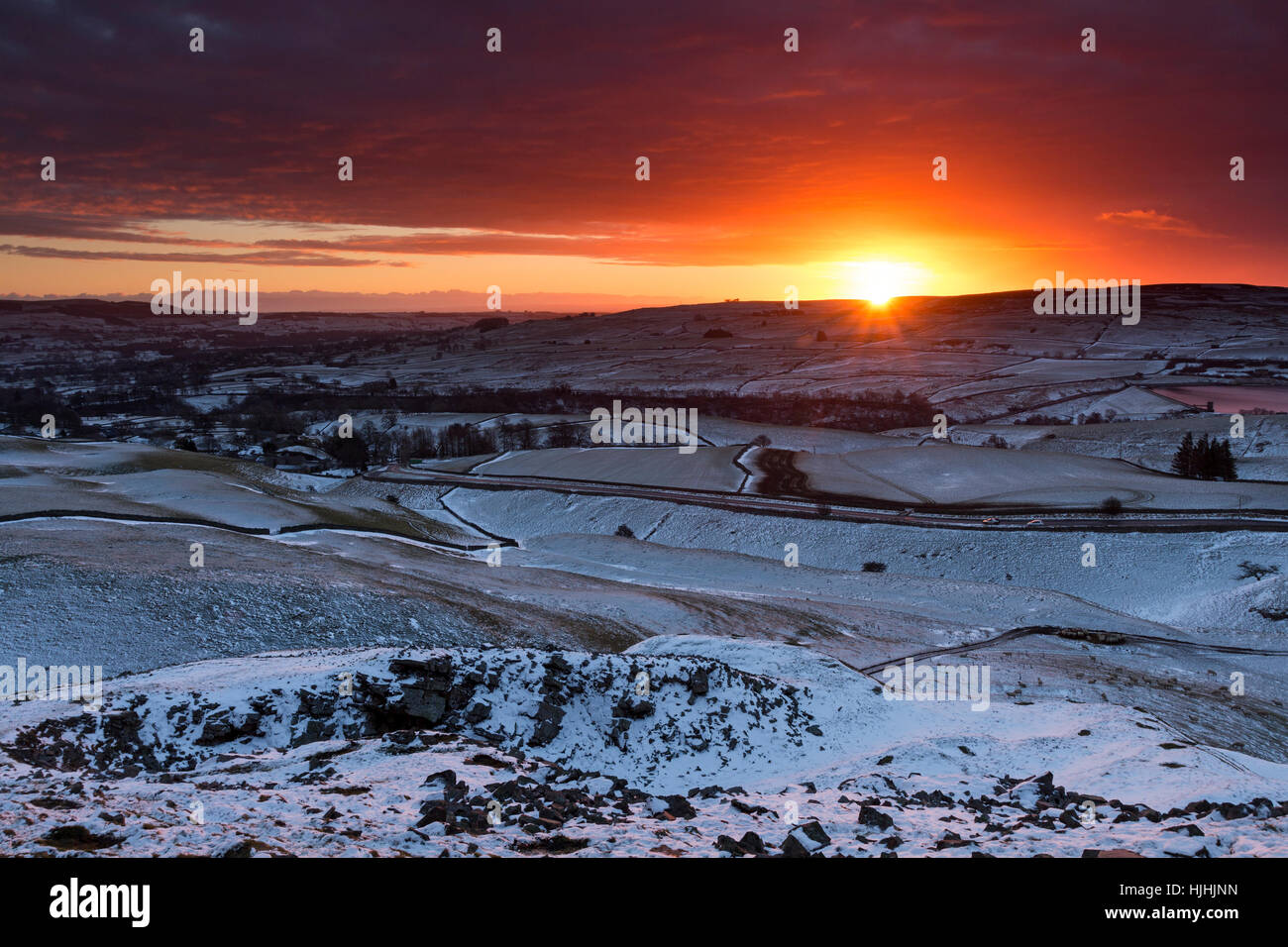 Sunrise from the Ancient Burial Mound of Kirkcarrion, Lunedale, Teesdale County Durham UK - Stock Image