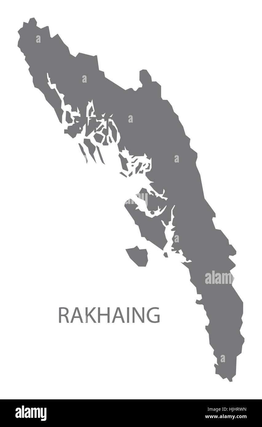 Rakhaing Myanmar Map in grey Stock Vector