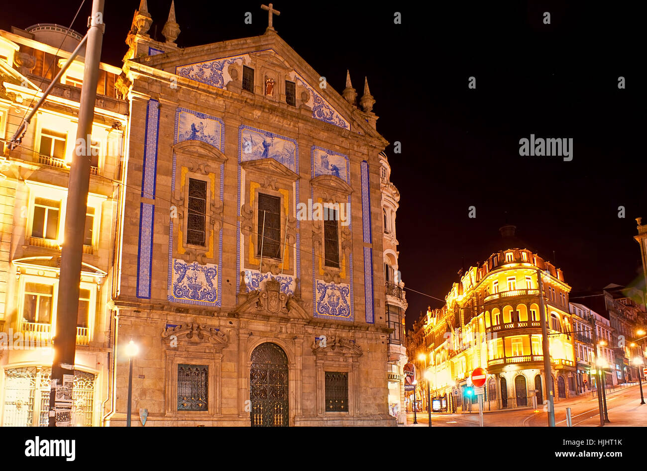 PORTO, PORTUGAL - APRIL 29, 2012: St Antonio Congregados Church, located at Almeida Garrett Square with the scenic - Stock Image