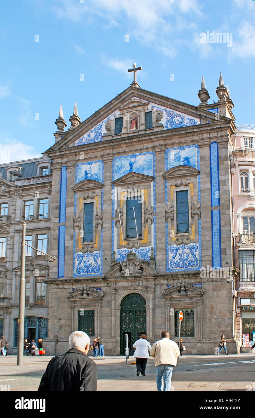 PORTO, PORTUGAL - APRIL 30, 2012: St Antonio Congregados Church boasts bright blue panels with pictures and traceries, - Stock Image